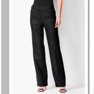 TALBOTS Windsor Linen Pants Black Size 12 Long
